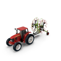 Tractor with Twin Rotor Rake Claas Liner 2700 Parked PNG & PSD Images