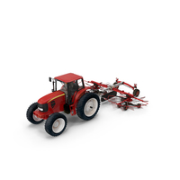Tractor with Used Twin Rotary Rake Generic PNG & PSD Images