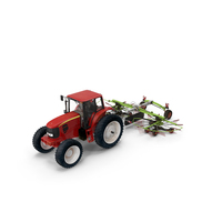 Tractor with Used Twin Rotor Rake Claas Liner 2700 PNG & PSD Images