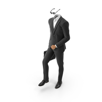 Black Suit Climbing Stairs with Bag and Sunglasses PNG & PSD Images