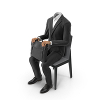 Black Suit in Chair Waiting with Bag PNG & PSD Images