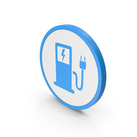 Icon Electric Vehicle Charging Station Blue PNG & PSD Images