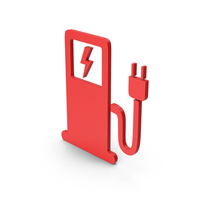 Symbol Electric Vehicle Charging Station Red PNG & PSD Images