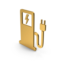 Symbol Electric Vehicle Charging Station Gold PNG & PSD Images