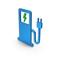 Symbol Electric Vehicle Charging Station Colored Metallic PNG & PSD Images
