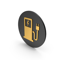 Electric Vehicle Charging Station Gold Icon PNG & PSD Images