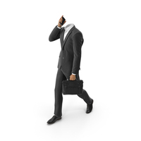 Talking Phone With Bag Suit Black PNG & PSD Images