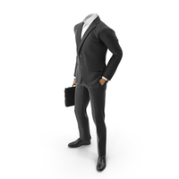 Waiting With Bag Hand in Pocket Suit Black PNG & PSD Images