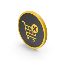 Icon Remove From Shopping Cart Yellow PNG & PSD Images