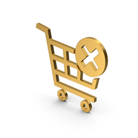 Symbol Remove From Shopping Cart Gold PNG & PSD Images