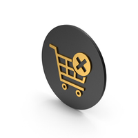 Remove From Shopping Cart Gold Icon PNG & PSD Images