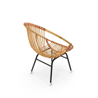 Vintage Bamboo Round Chair PNG & PSD Images