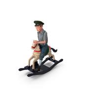Vintage Boy Riding Rocking Horse PNG & PSD Images