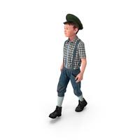 Vintage Child Boy Walking Pose PNG & PSD Images