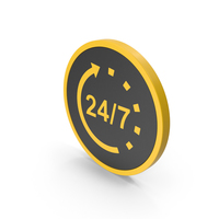 Icon 24 / 7 Open Yellow PNG & PSD Images