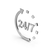 Symbol 24 / 7 Open Silver PNG & PSD Images