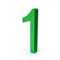 Number 1 Green Metallic PNG & PSD Images