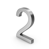 Number 2 Silver PNG & PSD Images