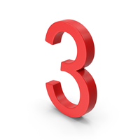 Number 3 Red PNG & PSD Images