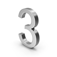 Number 3 Silver PNG & PSD Images