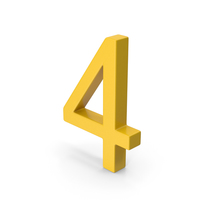 Number 4 Yellow PNG & PSD Images