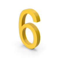 Number 6 Yellow PNG & PSD Images