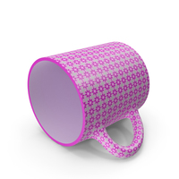 Printed Pink Flower Cup on Floor PNG & PSD Images