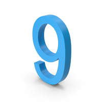 Number 9 Blue PNG & PSD Images