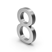 Number 8 Silver PNG & PSD Images