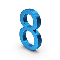 Number 8 Blue Metallic PNG & PSD Images