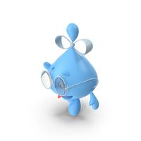 Water Drop Cartoon Lady Character Waving PNG & PSD Images