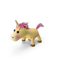 Yellow Cartoon Unicorn Walking Pose PNG & PSD Images