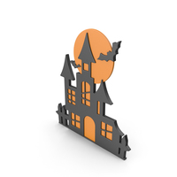 Halloween Castle and Moon Sign PNG & PSD Images