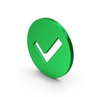Symbol Checkmark Green Metallic PNG & PSD Images
