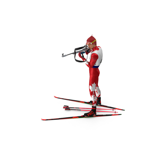 Biathlete Fully Equipped Canada Team Standing Pose PNG & PSD Images