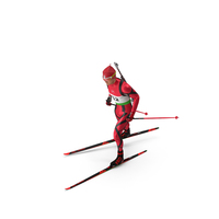 Biathlete Fully Equipped Running Pose PNG & PSD Images