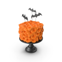 Halloween Cake with Bat Topper and Black Base PNG & PSD Images