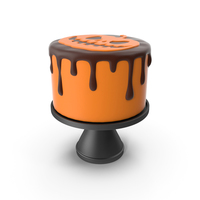 Halloween Cake with Pumpkin Face Topper PNG & PSD Images