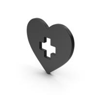 Symbol Medical Heart Black PNG & PSD Images