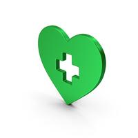 Symbol Medical Heart Green Metallic PNG & PSD Images