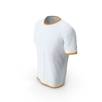 Male Crew Neck Worn White and Orange PNG & PSD Images