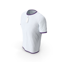 Male Crew Neck Worn With Tag White and Purple PNG & PSD Images