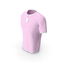 Male Crew Neck Worn With Tag White and Pink PNG & PSD Images