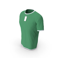 Male Crew Neck Worn With Tag White and Green PNG & PSD Images