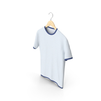 Male Crew Neck Hanging White and Dark Blue PNG & PSD Images
