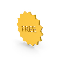Symbol Free Badge Yellow PNG & PSD Images