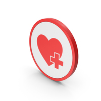Icon Heart With Medical Cross Red PNG & PSD Images
