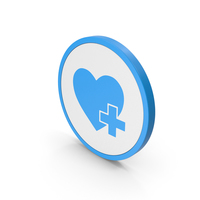 Icon Heart With Medical Cross Blue PNG & PSD Images