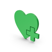 Symbol Heart With Medical Cross Green PNG & PSD Images