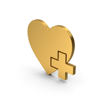 Symbol Heart With Medical Cross Gold PNG & PSD Images